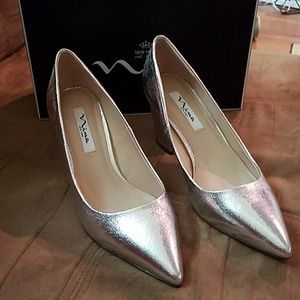 Silver Nina block heel shoes size 9